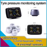 Freeshipping LCD TPMS,4 external sensors,tyre pressure monitoring system,PSI/BAR  measurement,car TPMS