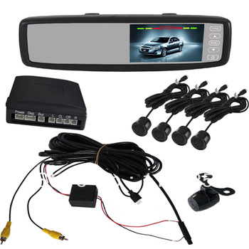 "Universal 4.3"" inch Car Reverse Backup Rear View Monitor Video Camera Parking Sensor System CE FCC Approved Free Shipping"