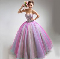 2013 Fashion  Colorful Sweetheart Wedding Dress , Real Image Ball Gown 5010