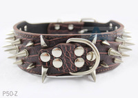 Free shipping Colorful Cheap 100% Guarantee Spiked Studded PU Leather Dog Collars PitBull Mastiff  Brown P50-Z