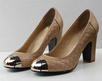 Free shipping metal round toe  platform big heel sheep leather woman fashion pump  on sale