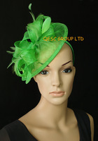 Mint green color Sinamay Feather Fascinator Hat for church,wedding and kentucky derby.FREE SHIPPING.