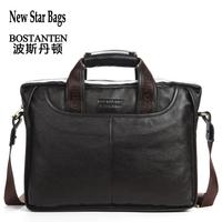 BOSTANTEN 100% Cowhide men's business briefcase  Genuine leather man vintage  shoulder computer bag / Luxury leather bag GB216