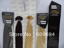 "MIRACLE HAIR: 18"" 20"" 22"" 24"" 100gram Remy Keratin Nail Tip U Tip Hair Extensions 1g/s 100% Indian Human Hair STOCK(China (Mainland))"