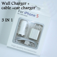 5V 1A AC wall charger USB car charger 8pin to USB cable adapter 3 IN 1 travel kit Accessory Bundle for IPhone 5