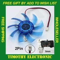 HOT SALE FREE SHIPPING  Blue PC VGA Video Graphics Card CPU Heatsink Cooler Cool Fan 80mm 2-pin 1PC #FS025