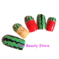 Watermelon Fake Nail,Artificial Fingernails With Free Glue