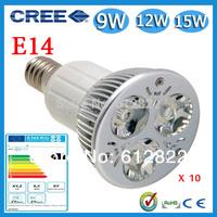 Factory directly sale 10pcs/lot CREE Bulb led bulb E14 9w 12w 15w 85-265V Dimmable led Light led lamps spotlight free shipping