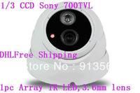 DHLFree Shipping:CCTV Camera 1/3 Sony 700TVL 3th Array LED IR Dome Waterproof CCTV Camera 3.6mm Lens