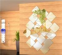 mirror decorative wall sticker,15*15CM square combination,S size,wall art backdrop,unique quotes home decoration