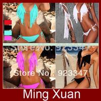Free Shipping 2013 New Trends Sexy Spaghetti Strap Tassel Halter-neck Bikini Swimwear 1set/lot