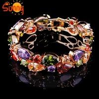 Jewellery crystal bracelet bangle lady's 18K Rose Gold Filled gift free 1pc