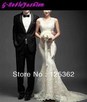 Elegant Deep V Neck Lace Wedding Gown Floor Length Long Trailing Wedding Gown