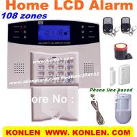 Fashion Type 108 zones LCD wireless alarm system, burglar home alarm system with keypad, MIC, alarm speaker,voice prompt
