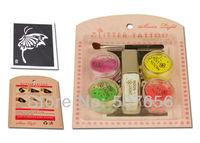 Free shipping luminous tattoo mini kit 4 colors with powder/glue tube/brush/stencil