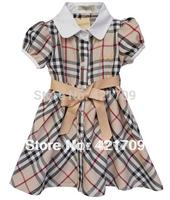 Free shipping 1piece 2013 fashing Girls' apricot fine lattice short sleeve cotton dress