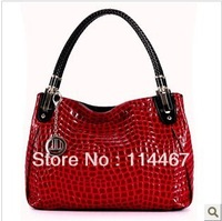 2013 women's genuine leather handbag cowhide fashion patent leather one shoulder handbag messenger bag