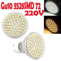4pcs GU10 led 3.5W 3528SMD 72 LED Warm white / Cold white Light Led Lamp Bulb 220V 280LM 3600K 7600K