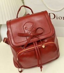 Free shipping 2013 new fasion drawstring type zipper women's handbag leather backpack Wine red / black / white bucket bag 008#(China (Mainland))