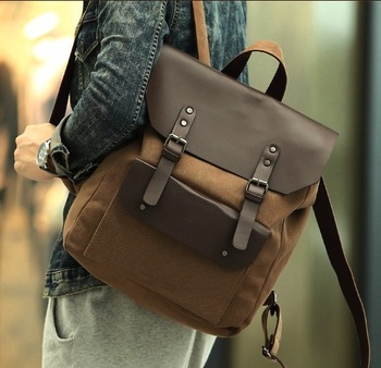 2013 mens canvas backpack school bag korean style leather bags for men vintage backpacks wholesale