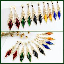 Latest rhombus design big rhinestone long drop alloy earrings(China (Mainland))