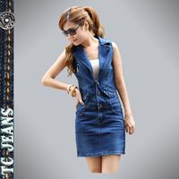 [TC Jeans] 2014 spring summer jeans dress for women short dress slim hip denim one-piece denim dress female sleeveless