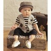 free shipping retail baby boys romper/baby clothing striped baby sport jumpsuit star decorate kids clothes/children clothing(China (Mainland))