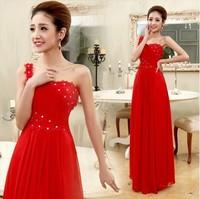 Free shipping 2013 hot-selling new design long sexy bride wedding cheongsam women Sweet lady fashion Evening dress