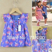 2013 baby girls fashion 100%cotton floral dresses sleeveless girls floral dress kids wear girl clothes 2A-6A