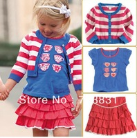 222100 Wholesale 2013 New baby Girl clothes set 3pcs (Jacket + T-shirt + dress) 5set/lot YCXNew Free shipping