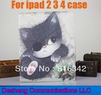 "Newest 9.7"" Character Folding Stand Leather Case for ipad 2 3 4 Pirate cat Smart Cover Leather Case For ipad 2 3 4 Free Shipping"