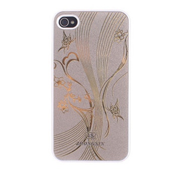 Pretty Butterfly Flower Vine Pattern Cell Phone case Metal Surface Plastic Back Cover Hard Shell For iPhone 4 4S,Golden/Silvery