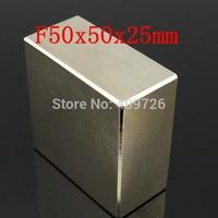 WholeSale !Super Strong Rare Earth NdFeB Block Magnet Neodymium N50 Magnet F50x50x25mm +Free Shipping