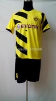 Can customized 2014-2015 best quality Borussia Dortmund UEFA home soccer uniform,BVB football shirt & shorts set 10set/lot
