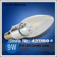 Free Shipping CREE E14 3W/9W/12W/15W  LED White/Warm white High Power LED Bulb Lamp Candle Light Energy Saving