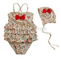 Vivo-biniya children Swimsuit Swimwear Cute Girl One-Piece Clothing Fashion Printing Bowknot Decorate Bathing Suit Free shipping