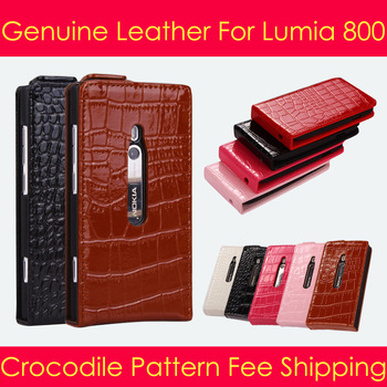 6 color For Nokia Lumia 800 Best Genuine Crocodile Pattern natural skin cover Leather pouch Flip Luxury phone Case Free Shipping