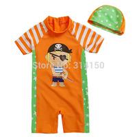 Vivo-biniya Cute Cartoon Swimwear Boy Swimsuit Children Bathing Suits Toddler Clothing+Hat One-Piece Swimming Suit Free shipping