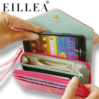 Free Shipping !! 2013 Hot Selling Ladies Leather Wallet Purse Case With Coin Pocket  Fit For Samsung Galaxy S3
