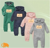 free shipping 100% cotton Baby rompers infant clothong One-Piece romper long sleeve sleeve hooded jumpsuit climb cloth 4 colors
