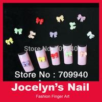 Free Shipping New 120pcs Mixed Colors Acrylic Nail Decoration Cute Bow Tie 3D Nail Art Tips Nail Decoration Item No.00350