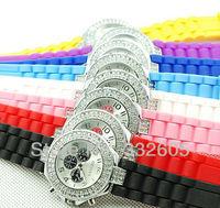 WholeSale! 2014 Fashion Women GENEVA Brand Double Diamond Dress Watch Lady Silicone Jelly Crystal Quartz Clock Female Wristwatch