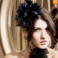 2013 Fashion Party Hair Accessories Mini Teardrop Hat Birdcage Veil Large Feather Ribbon Headdress Headwear Hair Grips WIGO0123
