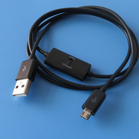 Micro usb data charge cable with switch for mobile phones and tablets