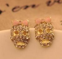 hotsale  fashion pink bowknot rhinestone skull stud earrings Mei Stylish  BE327