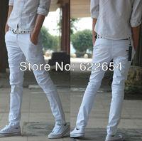 men's straight slim pants casual fashion slim british style trousers white color k166