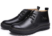 Men's genuine leather winter boots shoes/ business casual high-top warm winter boot shoes
