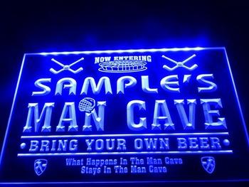 DZ035-b Name Personalized Custom Man Cave Hockey Bar Beer Neon Sign led Crystal Light Box Hang Doorplate Shop Ultra-thin Light