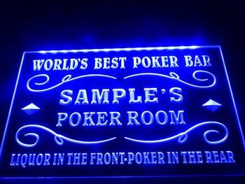 DZ044- Name Personalized Custom World's Best Poker Room Liquor Bar Beer Neon Sign  hang sign home decor shop crafts led sign
