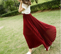 Free shipping 90cm Black/blue/yellow/red/pink/brown long skirts womens 12colors pleated skirts onsale